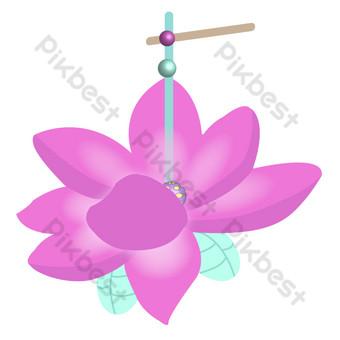 loto rosa personalidad isométrica linterna decorativa ai vector png hebilla libre Elementos graficos Modelo AI