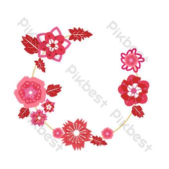 patrón de flor de cerezo cortado en papel rojo rosa sakura deja borde de guirnalda Elementos graficos Modelo PSD