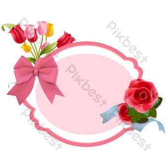 Décoration de carte de voeux de bordure de fleur rose de Thanksgiving Éléments graphiques Modèle AI