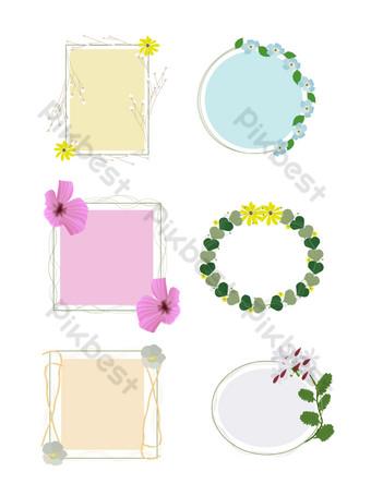 planta frontera flor hoja cuadrado redondo lindo estilo simple comercial Elementos graficos Modelo AI
