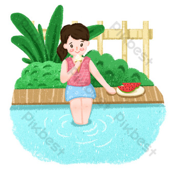 png gratis gambar gadis duduk di tepi kolam renang makan es krim Elemen Grafis Templat PSD