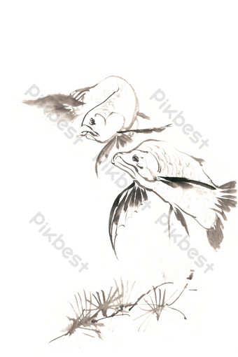 PNG free of deep sea fish ink painting PNG Images Template PSD