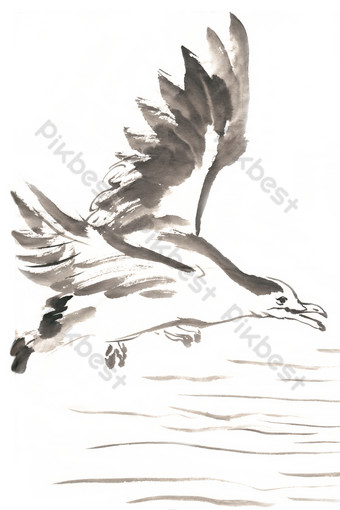 PNG free of flying seagull ink painting PNG Images Template PSD