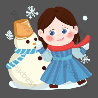 png de niña de dibujos animados haciendo muñeco de nieve Elementos graficos Modelo PSD