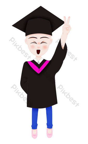 PNG pattern of happy girls in graduation season PNG Images Template PSD