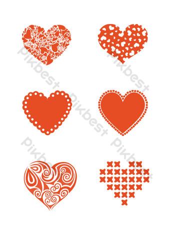 diseño de elemento en forma de corazón minimalista dibujado a mano amor rojo estilo pop Elementos graficos Modelo PSD