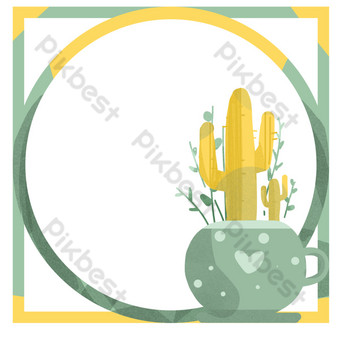 borde simple amarillo de palma en maceta Elementos graficos Modelo PSD
