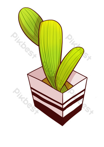 planta en maceta con hojas verdes simples Elementos graficos Modelo PSD