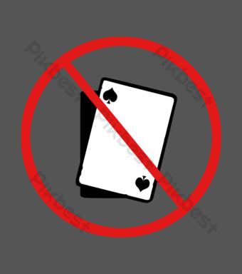 Interdiction de signer des cartes à jouer Éléments graphiques Modèle PSD