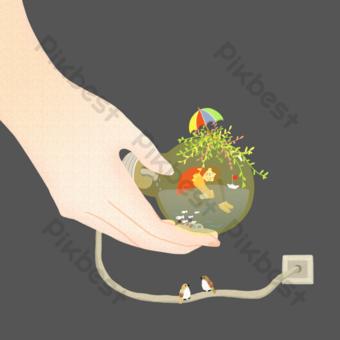 archivo fuente psd bombilla niña mundo de fantasía ilustración Elementos graficos Modelo PSD