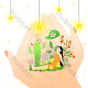 archivo fuente psd dibujos animados dibujados a mano ilustración del mundo de fantasía gratis Elementos graficos Modelo PSD