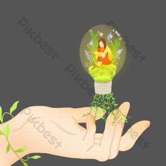 archivo de fuente psd dibujos animados dibujados a mano ilustración de niña Elementos graficos Modelo PSD