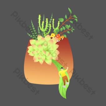 archivo fuente psd suculenta ilustración de primavera verde Elementos graficos Modelo PSD