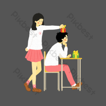 ilustración de regalo de pareja de día de san valentín archivo fuente psd Elementos graficos Modelo PSD
