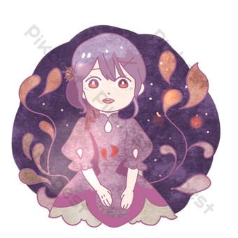 紫色魅力舞會女孩png 元素 模板 PSD