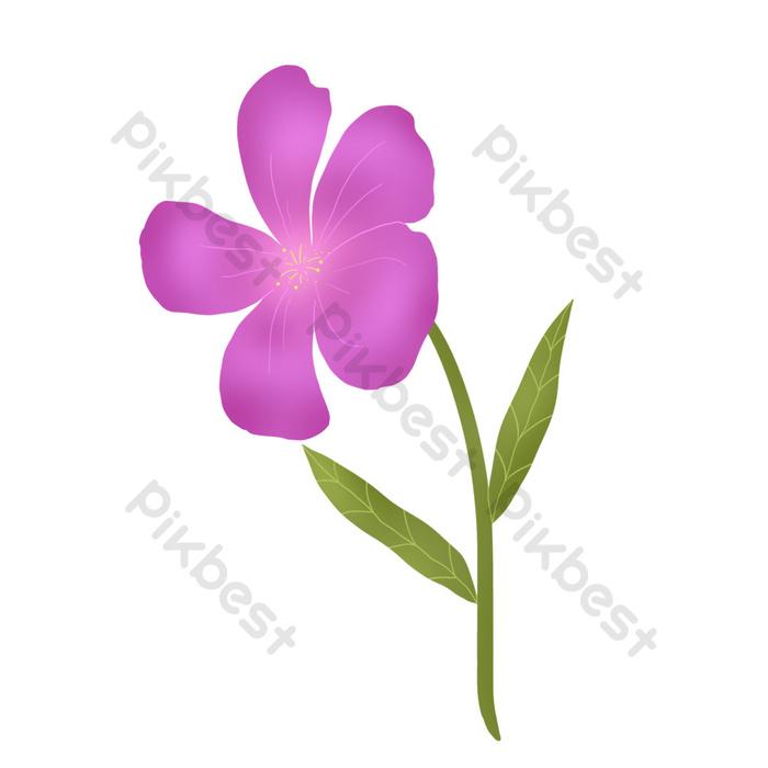 Bunga Kartun Cantik Berwarna Ungu Elemen Grafik Psd Percuma Muat Turun Pikbest