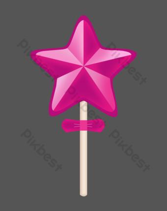 紫色五星級糖果 元素 模板 PSD