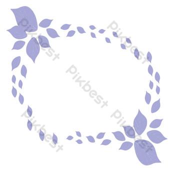 ilustración de marco de flor flotante púrpura Elementos graficos Modelo PSD