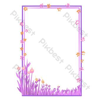 borde floral morado Elementos graficos Modelo PSD
