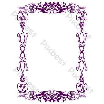 borde de patrón floral púrpura Elementos graficos Modelo PSD