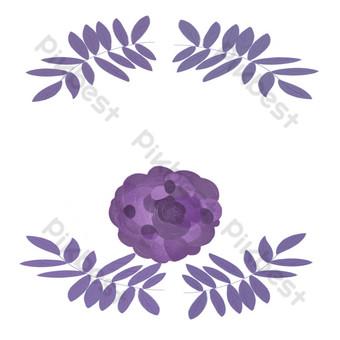 ilustración de borde de flor morada Elementos graficos Modelo PSD