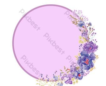 marco de decoración de flores moradas Elementos graficos Modelo PSD