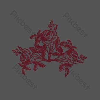 elemento de patrón floral flor púrpura Elementos graficos Modelo PSD