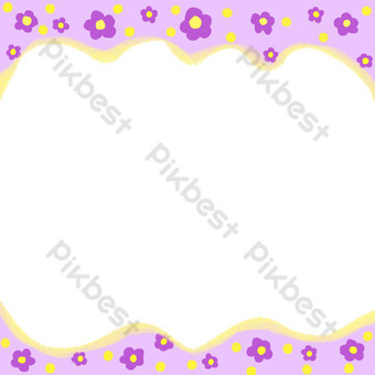 marco de flor morada Elementos graficos Modelo PSD