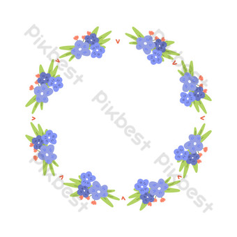 frontera de guirnalda de flores moradas Elementos graficos Modelo PSD