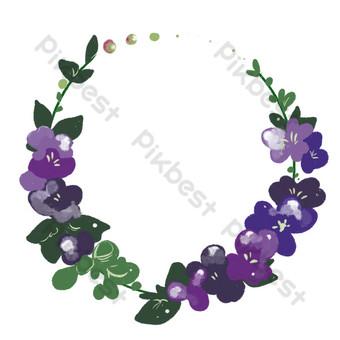corona de flores moradas borde redondo Elementos graficos Modelo PSD
