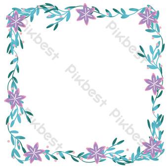 frontera de flores y plantas moradas Elementos graficos Modelo PSD