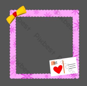 ilustración de borde de amor púrpura Elementos graficos Modelo PSD