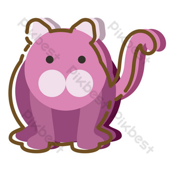 Purple sea lion cartoon hand drawn PNG Images Template PSD