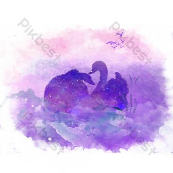 фиолетовый лебедь свободный вырез Графические элементы шаблон PSD