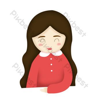 q versión sonriente niña diseño de dibujos animados elementos comerciales Elementos graficos Modelo PSD