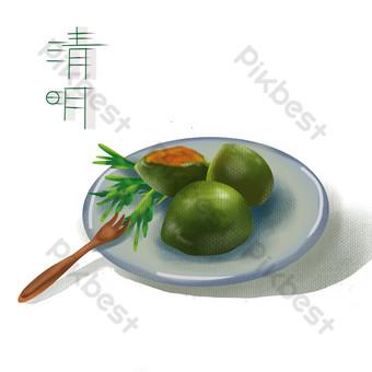 Qingming termes solaires nourriture fruits PNG calendrier lunaire de la ligue des jeunes Éléments graphiques Modèle PSD