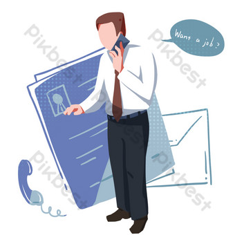 Recruitment customer service cartoon illustration PNG Images Template PSD