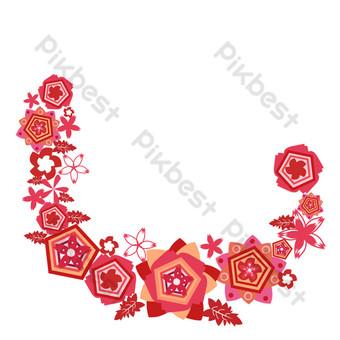 patrón de corte de papel rectangular guirnalda de sakura deja borde Elementos graficos Modelo PSD
