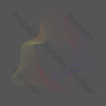 líneas de degradado irregular abstracto rojo amarillo y azul Elementos graficos Modelo AI