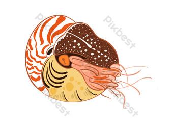 criatura de concha de patrón rojo y blanco Elementos graficos Modelo PSD