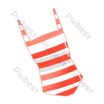 bañador de rayas rojas y blancas Elementos graficos Modelo PSD
