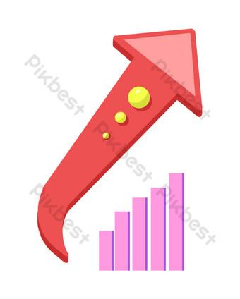 ilustración de gráfico de análisis de flecha roja Elementos graficos Modelo PSD