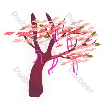 красный большой дерево свободный вырез Графические элементы шаблон PSD