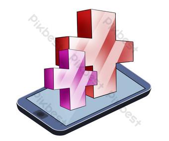 cruz roja y telefono movil Elementos graficos Modelo PSD