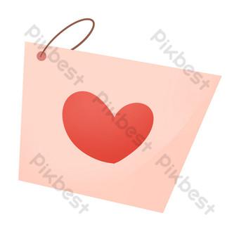 Coeur d'amour rouge mignon tanabata valentine carte postale Éléments graphiques Modèle PSD