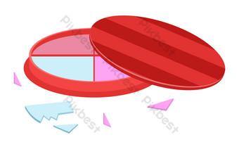 ilustración de cosméticos de sombra de ojos rojos Elementos graficos Modelo AI