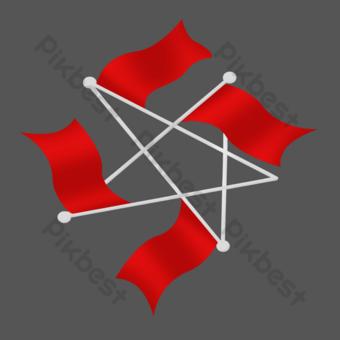 紅旗形成五個尖的星 元素 模板 PSD