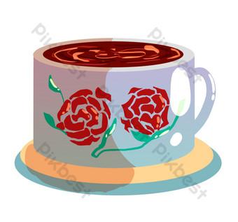 ilustración de taza de café de patrón de flor roja Elementos graficos Modelo PSD