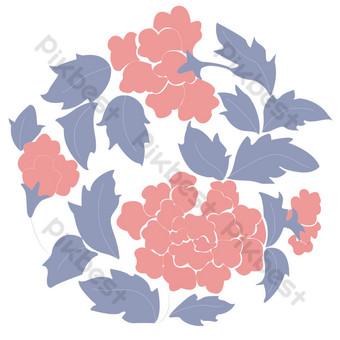 dibujo libre de patrón de flor roja Elementos graficos Modelo PSD
