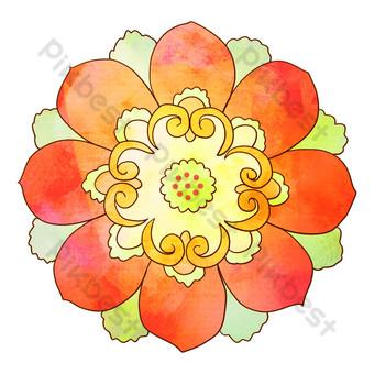 patrón religioso flor roja Elementos graficos Modelo PSD